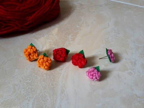 How to make flower earrings from woollen thread