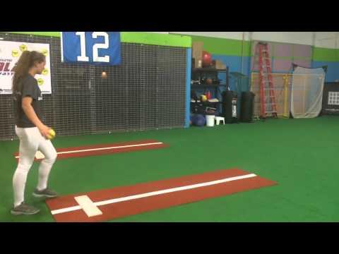 Caroline Bowman softball 3/12/15: riseball with Bry