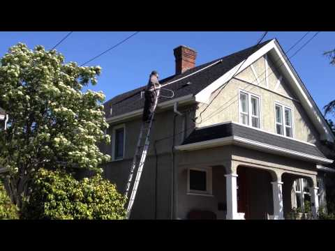 Roof Moss Removal with Long Handled Brush, Easy, Safer