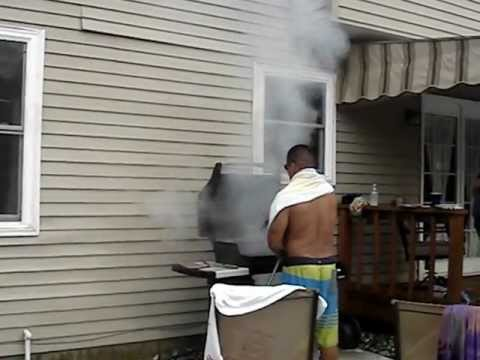 putting out grill fire