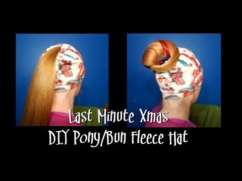Last Minute Xmas - DIY Pony/Bun Fleece Hat