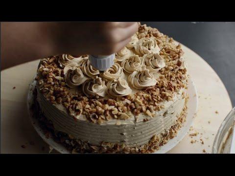 Walnut Cake with Brown Sugar Swiss Meringue Frosting