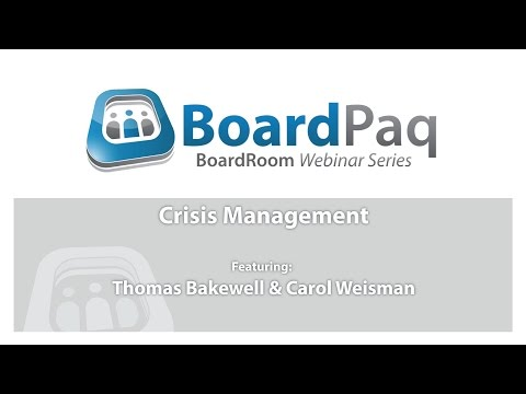 Creating a Crisis Management Plan: The Role of the Board
