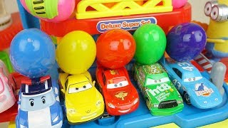 Cars and Poli car station toys with surprise eggs play
