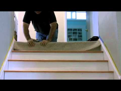 Carpet to floor transition on stair: A CreativeCarpetRepair.Com Tutorial