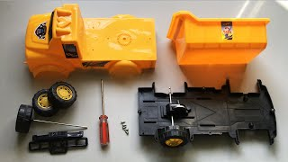 Assemble various parts of Yellow Toy Dump Truck | Toy Vehicles Attached by EH TOY Show