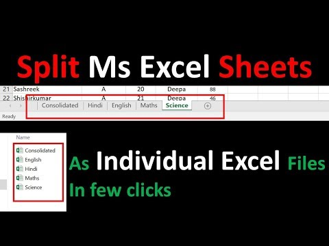 How To Split Excel Sheets Into Separate Files | Session 6