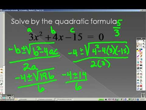 Algebra 2 5.6 Part 1 Examples The Quadratic Formula and the Discriminant