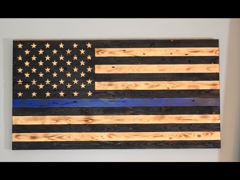Wood U.S. Flag- Thin Blue Line