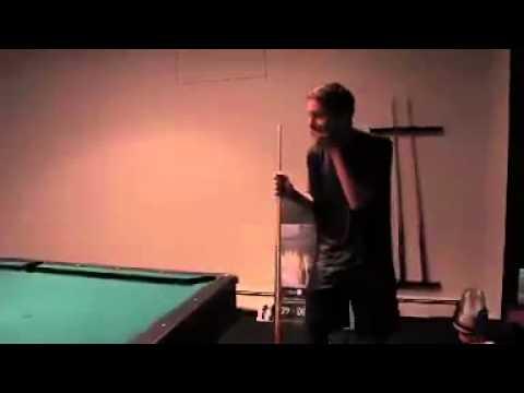Kid hits perfect pool break