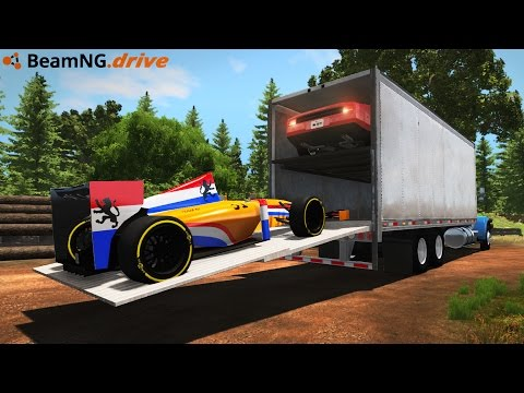 LOADING & HAULING RACE CARS IN A SEMI TRUCK! Driving & Crash Testing! (BeamNG Drive Mods)