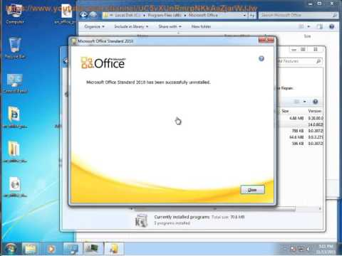 How to Uninstall Microsoft Office Standard 2010 on Windows 7