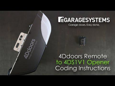 4Ddoors 4DS1V1 Garage Door Opener/Remote Coding Instructions