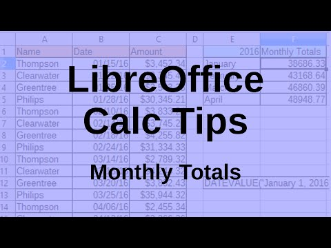 LibreOffice Calc Tips - Monthly totals