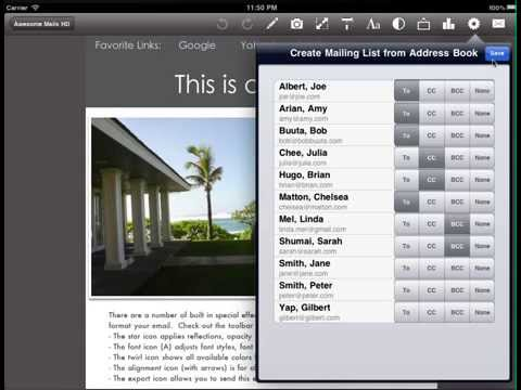 How to create a mailing list using the Awesome Mails app on an iPad