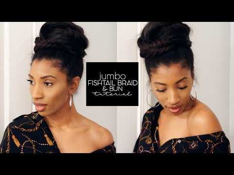 HOLIDAY HAIR INSPO -- Jumbo Fishtail Braid & Bun on Natural Hair