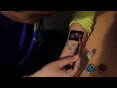 How to apply glitter tattoo with stencil