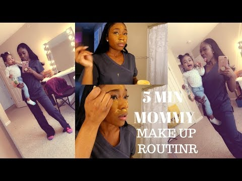 5 MINUTE WORK/ MOMMY MAKE UP ROUTINE AND GET READY WITH US R