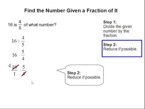 How to Find the Number Given a Fraction of It