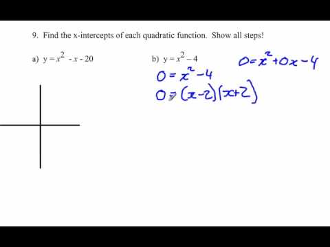 Finding x-intercept of quadratic functions given an equation : Solving algebraically