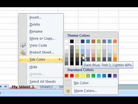 How to change Excel Tab color