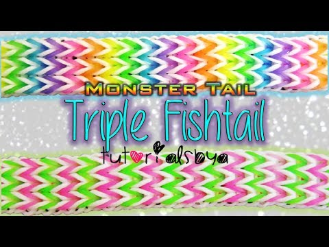 NEW Triple Fishtail MONSTER TAIL Rainbow Loom Bracelet Tutorial | How To
