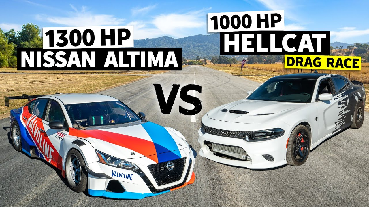 1,300hp Altima Drift Car Races a Twin Turbo, 1000hp Hellcat // This vs. That