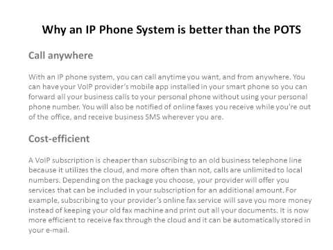 Why an IP Phone System is better than the POTS
