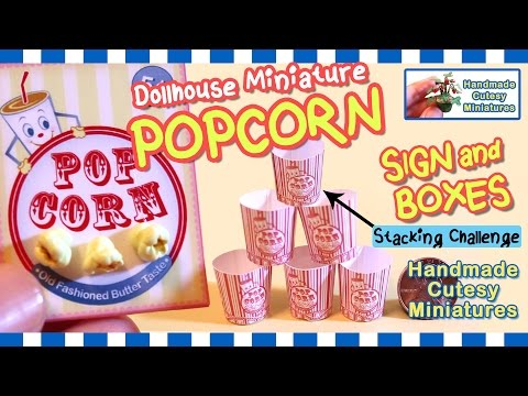 POPCORN SIGN & BOXES - DOLLHOUSE MINIATURE & Stacking Challenge, Polymer Clay - by Artist Pamela T.