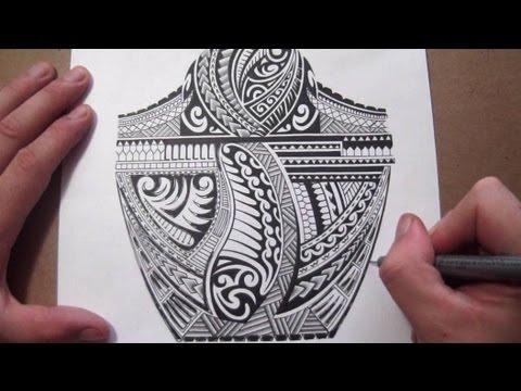 Maori Polynesian Tribal Half Sleeve Tattoo Design - Adding Black Fill