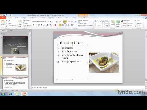 Adding bullets and list numbering  in powerpoint