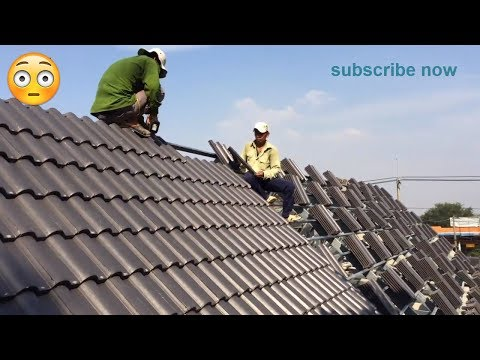House Construction Building Roof- Clay Roof Tiles Installation - Build Terracotta Roof Tiles