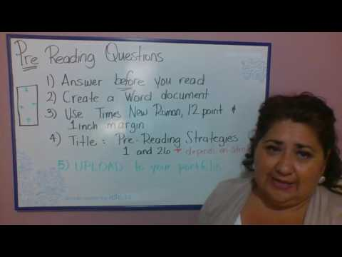 Pre Reading Questions Instructions