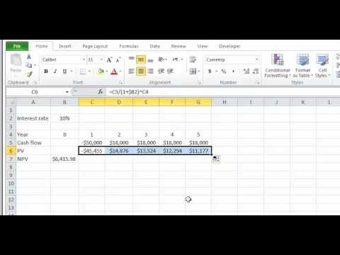 Lesson 3 video 3: NPV function in Excel