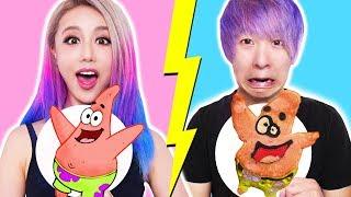 GF VS BF Pancake Art Challenge! Learn To Make Spongebob, The Powerpuff Girls, Emojis, Pokemon
