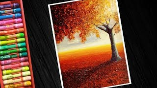 Download Step by step tree landscape oil pastel Drawing for beginners Video