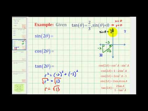 Ex 2:  Determine Double Angle Trig Function Values Given Information