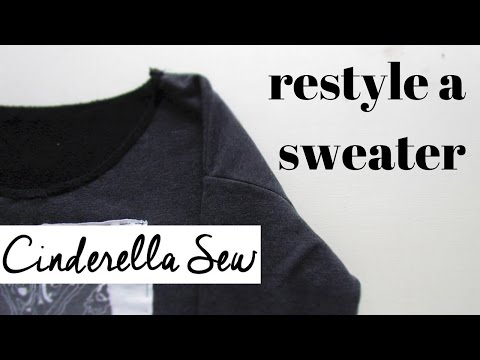 Easy DIY sweater refashion tutorial - Cut off neck and add patches - How to restyle a sweater