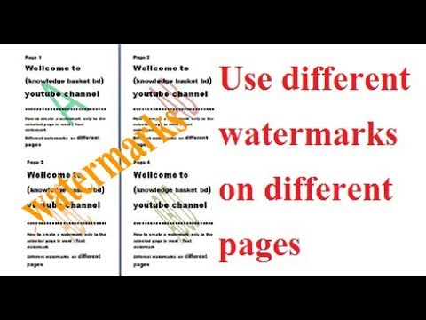 How to create a watermark & Use different watermarks on different pages in Microsoft Word