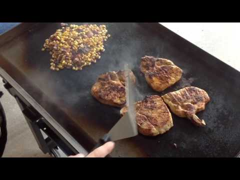 Blackstone Griddle Bacon Fried Corn and Pork Chops