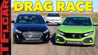 Too Close To Call! Honda Civic Si vs Hyundai Elantra GT vs VW Golf GTI Drag Race
