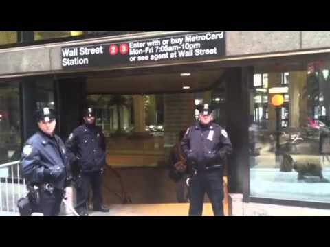 Police Guarding Entrance to Wall Street #2 Subway