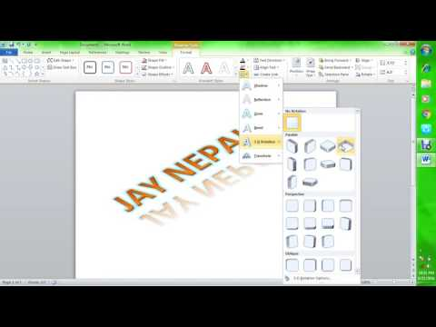 How to make 3D text in MS word 2010