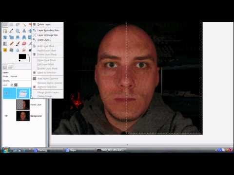 Gimp, photoshop tutorial by dom bower (face symmetry)
