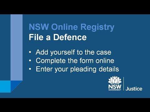 NSW Online Registry - File a Defence