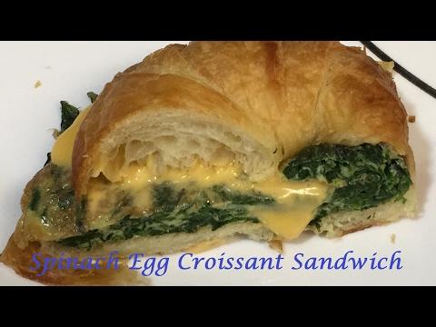 Breakfast Spinach Egg Croissant Sandwich  #02