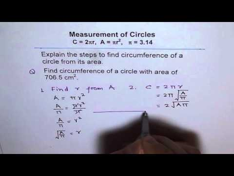 Relate Circumference and Area and find its value from Given Area of Circle