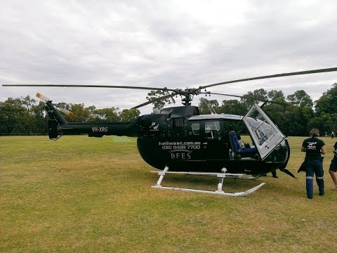 Eurocopter Bo-105 -- Air Intelligence helicopter takes off from Glen Forrest Oval after bushfire