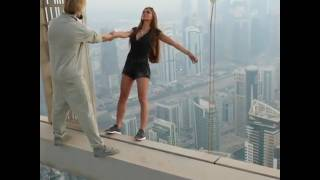 Russian Model Viki Odintcova risk her life to take perfect photo from a skyscraper in Dubai