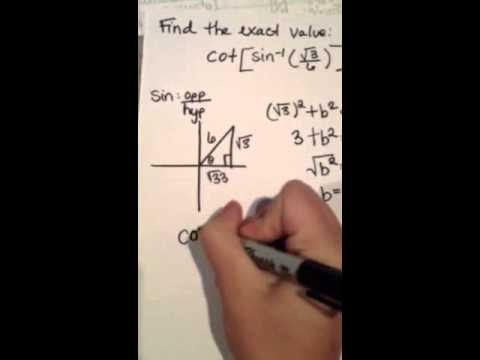 How to find the exact value of cot[arcsin(sqrt(3)/6)]